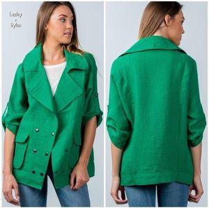 🎀HP🎀BEULAH Nordstrom Green Linen Relaxed Blazer